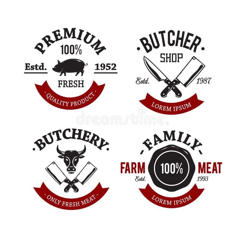 Slaktare Shop Emblems vektor illustrationer