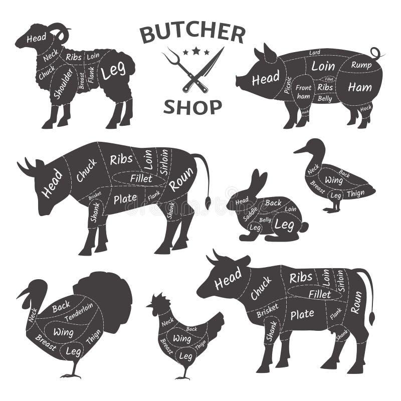 Slaktare Shop Gulliga roliga husdjur, djur Jordbruks- k?ttbondes marknad royaltyfri illustrationer