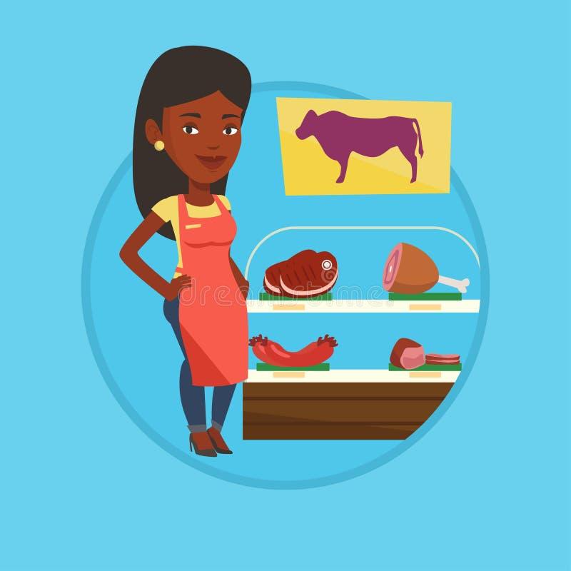 Slaktare som erbjuder nytt kött i butchershop stock illustrationer