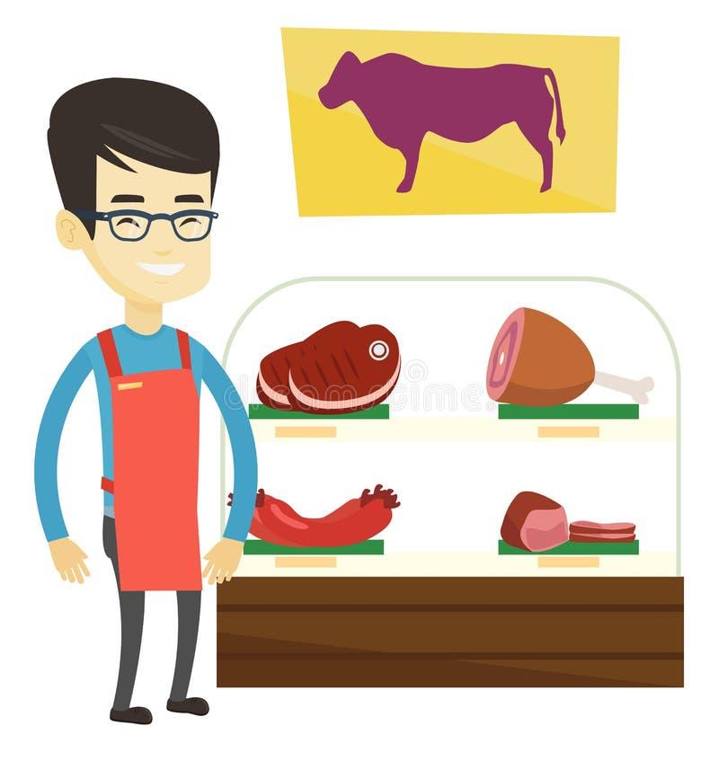 Slaktare som erbjuder nytt kött i butchershop royaltyfri illustrationer