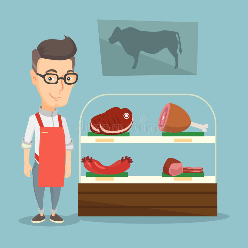Slaktare som erbjuder nytt kött i en butchershop stock illustrationer