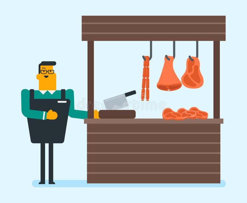 Slaktare som erbjuder nytt kött i slakten vektor illustrationer