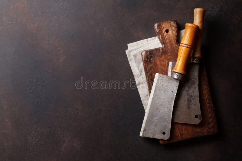 slaktare Tappningköttknivar royaltyfri bild