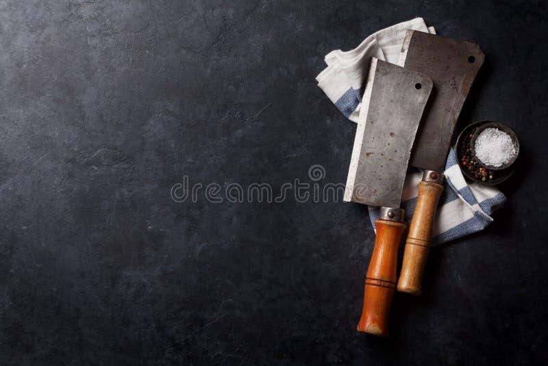 slaktare Tappningköttknivar royaltyfria bilder