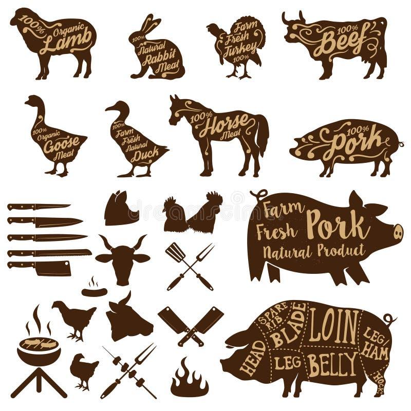 Slaktarehjälpmedel djurlantgårdliggande sommar för många sheeeps ny pork royaltyfri illustrationer