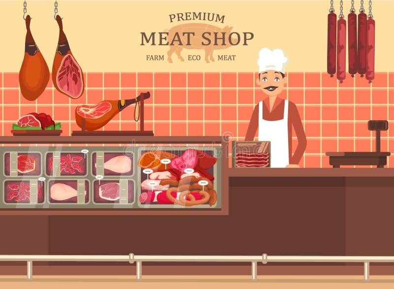 Slaktaremannen på köttlagret ställer ut med skinka stock illustrationer