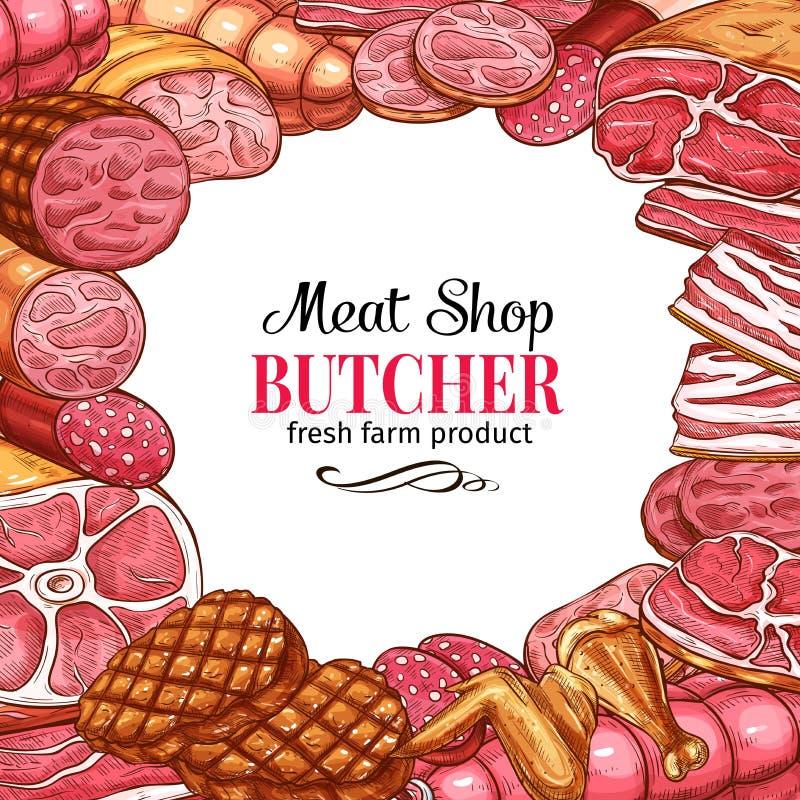 Slaktaren shoppar affischen med ramen av kött och korven royaltyfri illustrationer