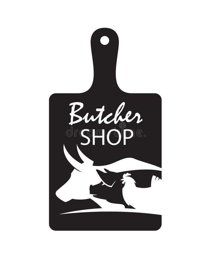 Slaktaren shoppar emblemet stock illustrationer