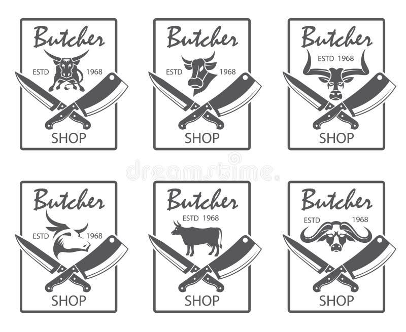 Slaktaren shoppar emblemuppsättningen royaltyfri illustrationer