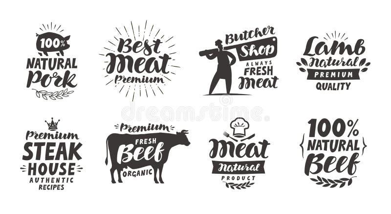 Slaktaren shoppar, etiketter Kött nötkött, griskött, fastställda symboler för lamm Bokstävervektorillustration royaltyfri illustrationer