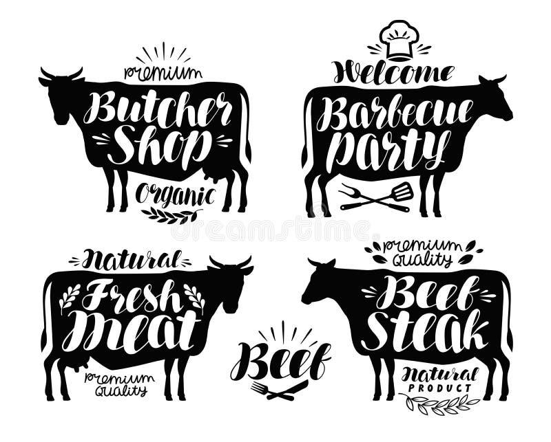 Slaktaren shoppar, grillar partietikettuppsättningen Kött, nötköttbiff, bbq-symbol eller logo Bokstävervektorillustration stock illustrationer