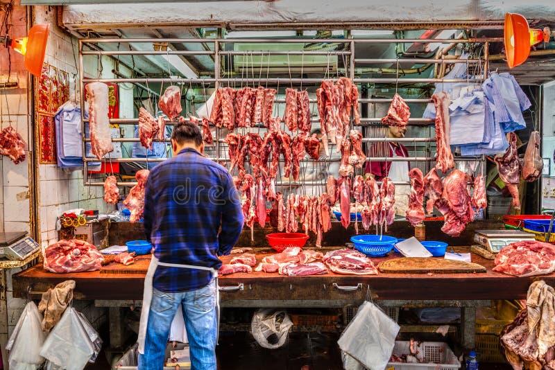 Slaktaren shoppar i Hong Kong, Kina arkivfoton