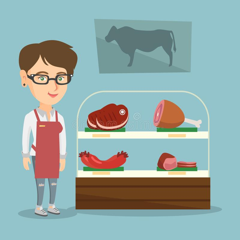 Slaktaren som erbjuder nytt kött i slaktaren, shoppar vektor illustrationer