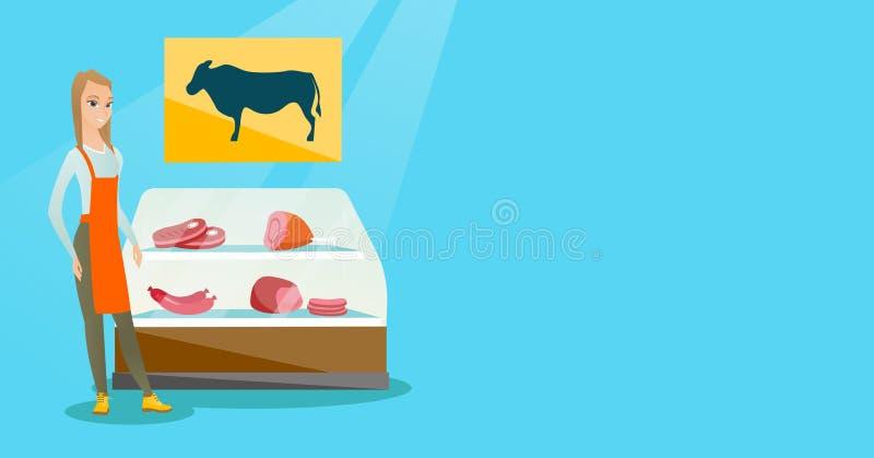 Slaktaren som erbjuder nytt kött i slaktaren, shoppar stock illustrationer