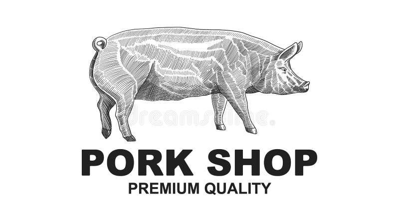 SlaktarePork Shop Design beståndsdel i tappningstil för logotypen, etikett, emblemdesign Retro vektorillustration för svin stock illustrationer