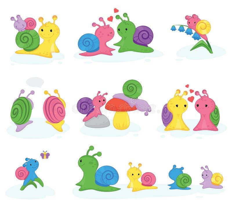 Slakvector slak-vormig karakter met shell en beeldverhaal snailfish of snail-like de illustratiereeks van weekdierjonge geitjes v royalty-vrije illustratie
