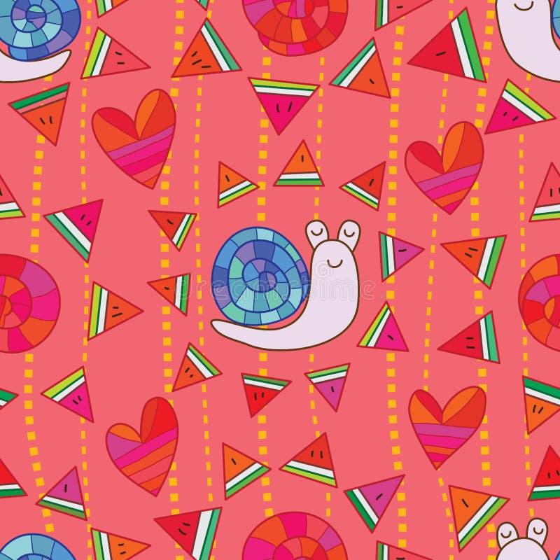 Slakwatermeloen rond naadloos patroon stock illustratie
