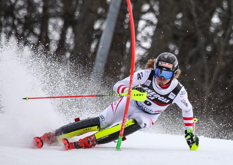 Slalom dos homens do campeonato do mundo de Audi FIS fotos de stock royalty free