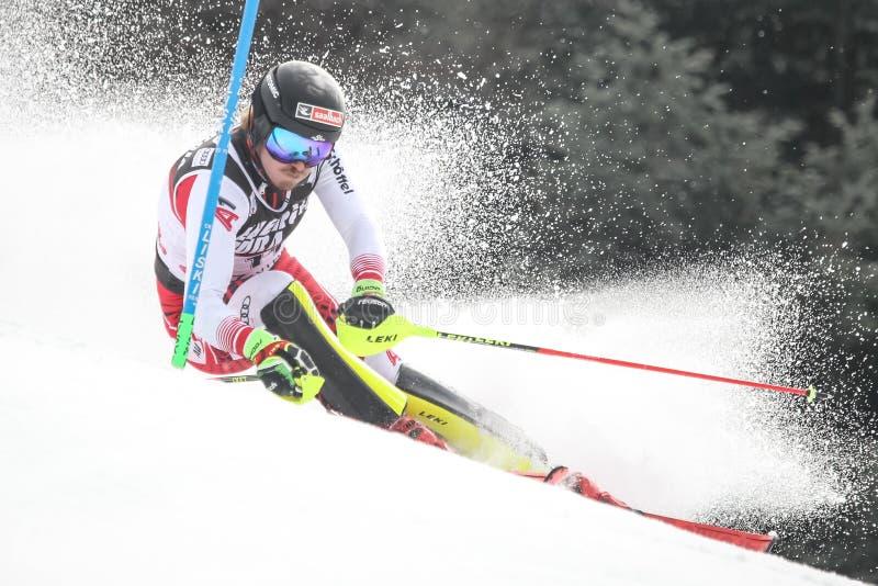 Slalom dos homens do troféu 2019 da rainha da neve fotos de stock royalty free