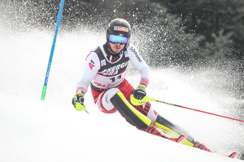 Slalom dos homens do troféu 2019 da rainha da neve foto de stock