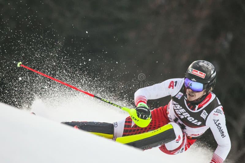 Slalom dos homens do troféu 2019 da rainha da neve fotografia de stock royalty free