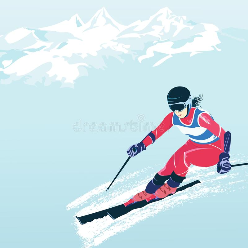 Ski resorts and steep slopes. Slalom and downhill skiing. Active winter vacation, travel and tourism. vector illustration