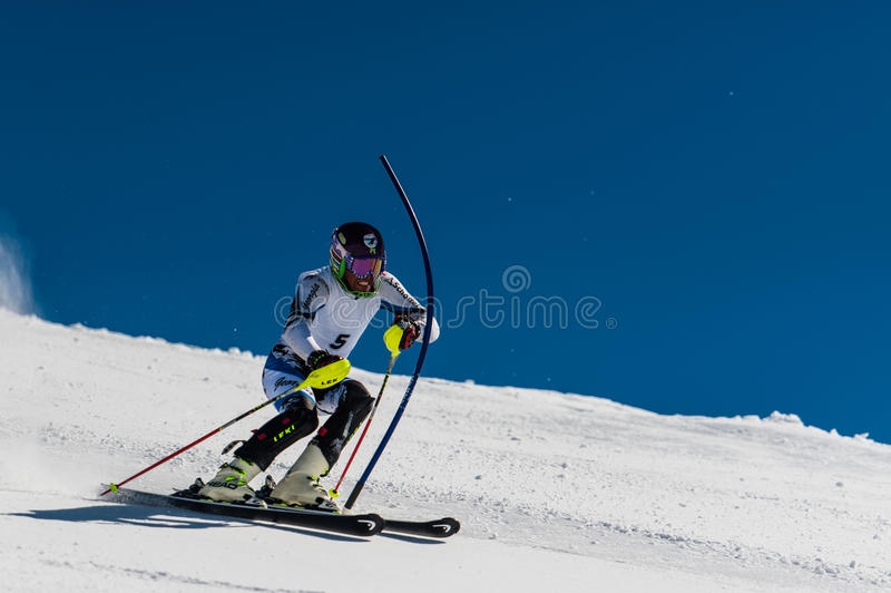 Slalom Skier in Gudauri, Georgia. At March royalty free stock photo
