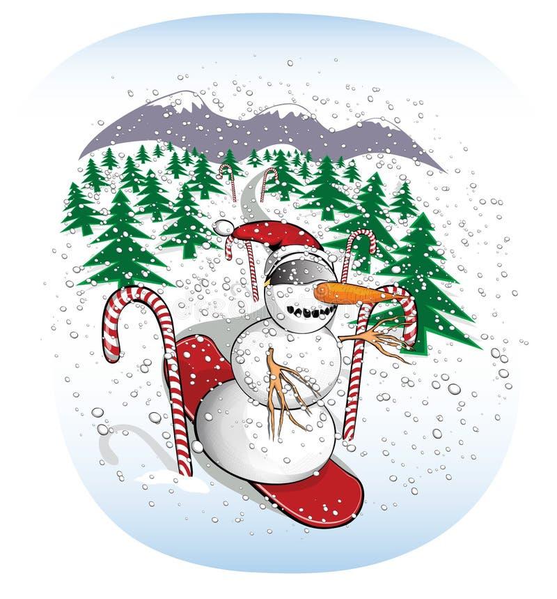 Slalomowy jazda na snowboardzie bałwan ilustracji