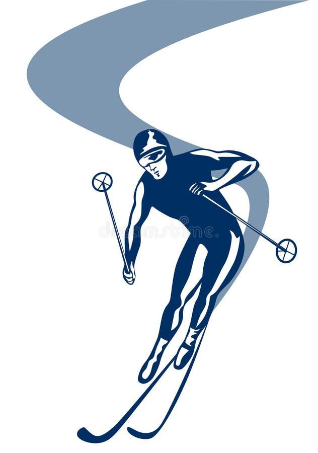 Slalomskifahren vektor abbildung