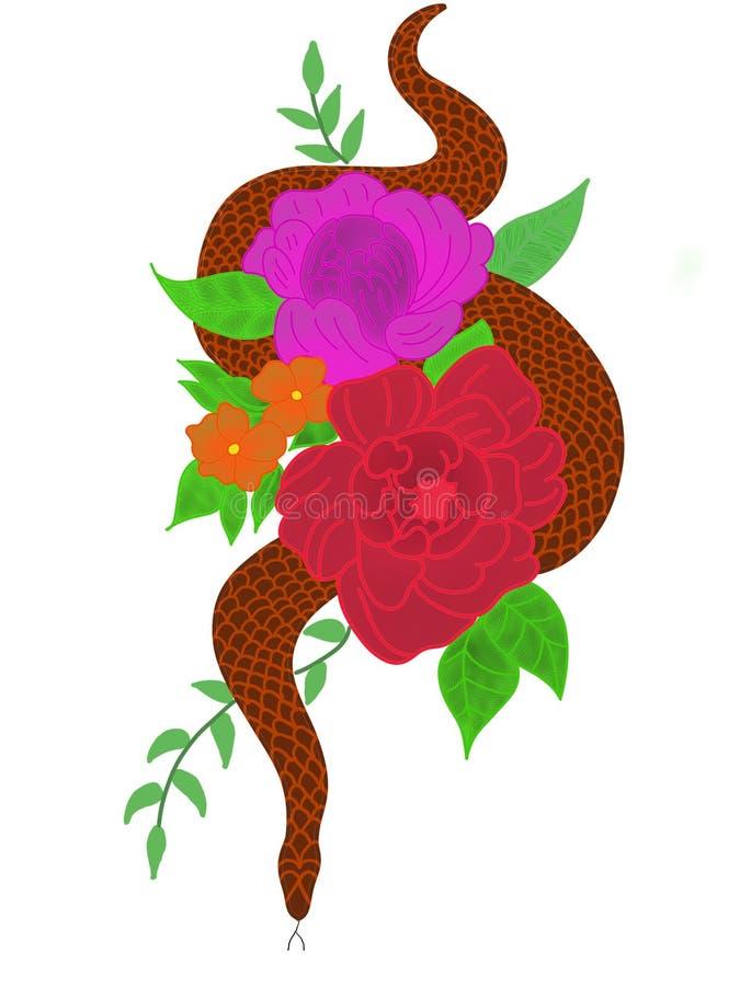 Slang die onder de bloemen kruipen stock illustratie