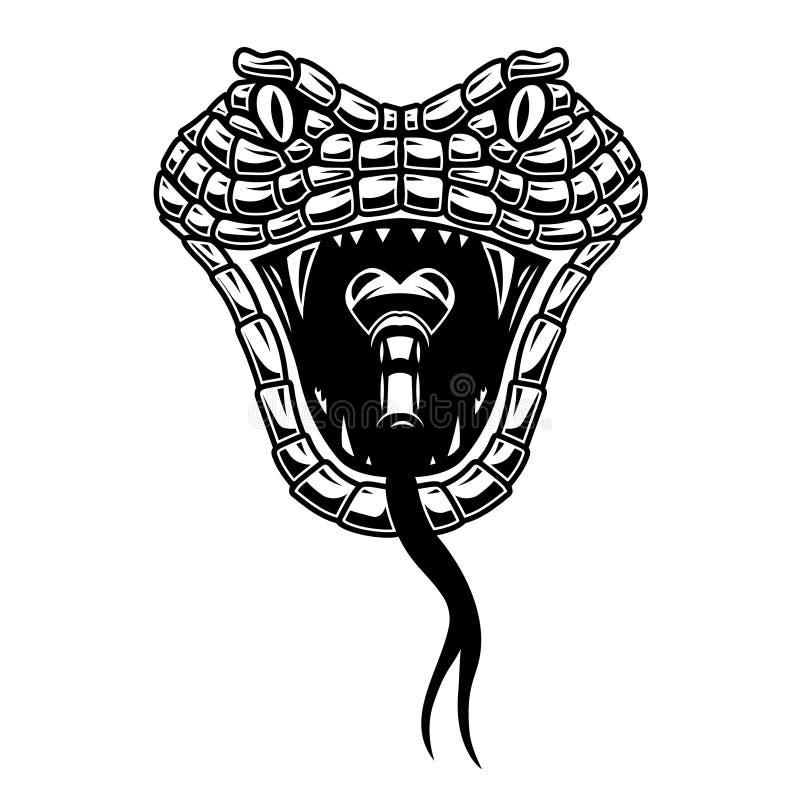 Slang hoofdillustratie in gravurestijl Ontwerpelement voor embleem, etiket, teken, affiche, t-shirt royalty-vrije illustratie