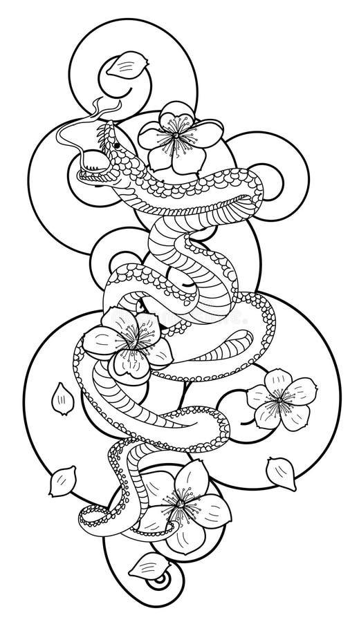 Slang met bloem en Japanse het ontwerpvector van de wolkentatoegering stock illustratie