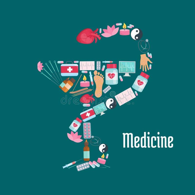 Slang op kopteken met alternatieve geneeskundepictogrammen vector illustratie