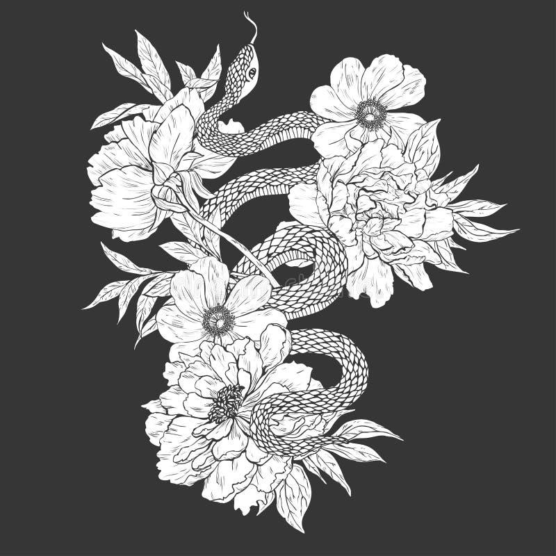 Slangen en bloemen Tatoegeringskunst, kleurende boeken royalty-vrije illustratie