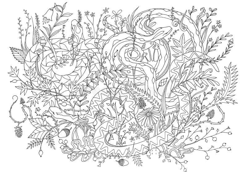 Slangen in vegetatie en struiken worden gecamoufleerd die Lijnkunst voor vulling in het kleuren ontspannende activiteit royalty-vrije stock afbeelding