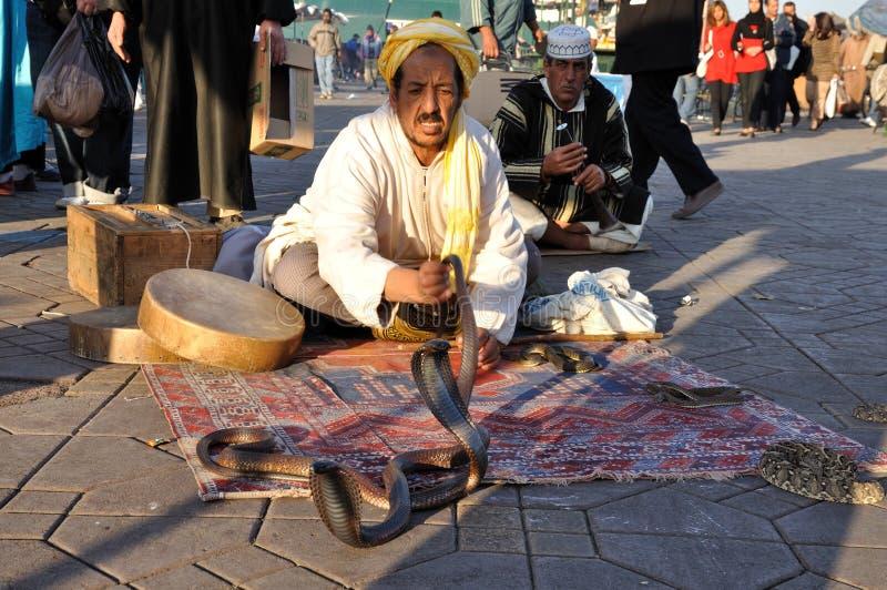 Slangenbezweerder in Marrakech stock afbeelding