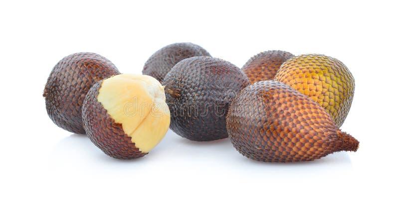 Slangfruit, Salacca, zakacca Salak Indo op witte achtergrond wordt geïsoleerd die stock foto's