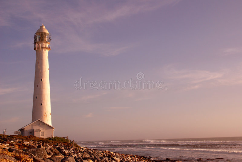 Slangkop Lighthouse. The Slangkop Lighthouse in Kommetjie, Western Cape. The tallest lighthouse in South Africa royalty free stock images