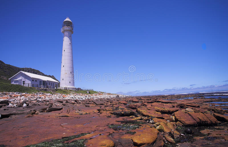 Slangkop Lighthouse. The Historical Slangkop Lighthouse at Kommetjie in the Western Cape, South Africa stock images