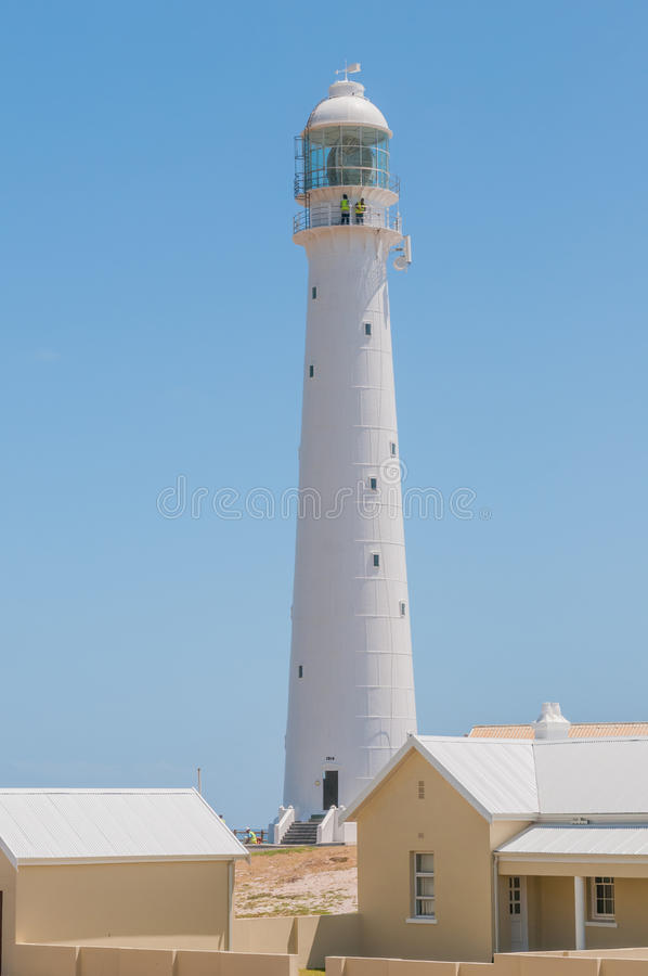 Slangkop Lighthouse at Kommetjie. CAPE TOWN, SOUTH AFRICA - DECEMBER 12, 2014: The Slangkop (snake head) Lighthouse at Kommetjie built in 1914 stock photography