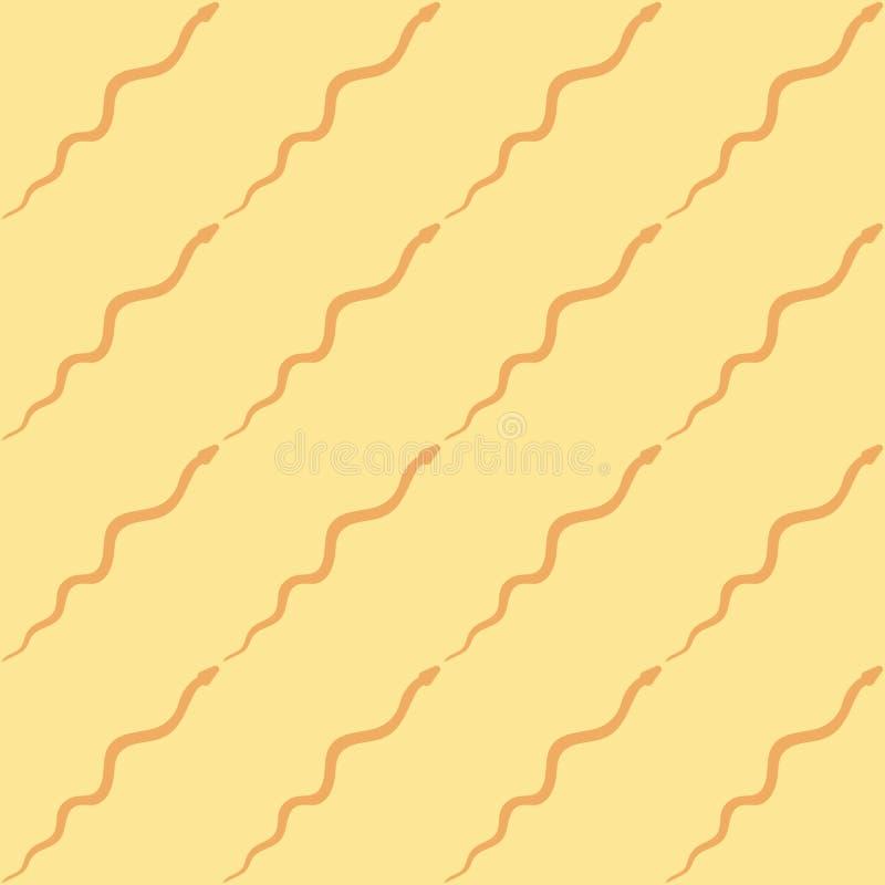 Slangsilhouet, vector van het serpent de naadloze patroon Abstracte duinen, woestijn, zand, golvende lijnen Geschikt voor druk, v stock illustratie