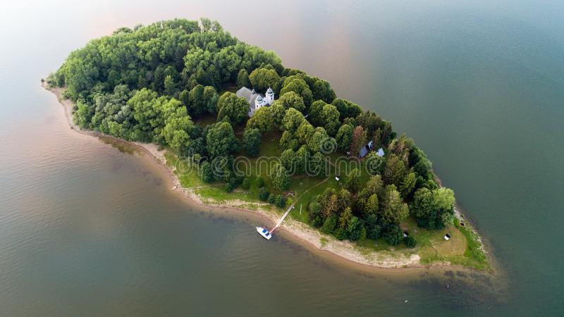 Slanica island on Orava dam, Slovakia. Aerial view of Slanica island on Orava dam, Slovakia royalty free stock photography