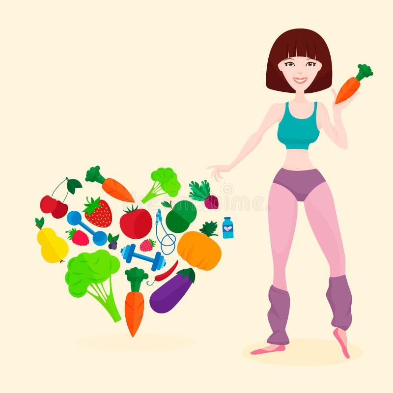 Slank atletisch meisje, verse groenten en vruchten vector illustratie