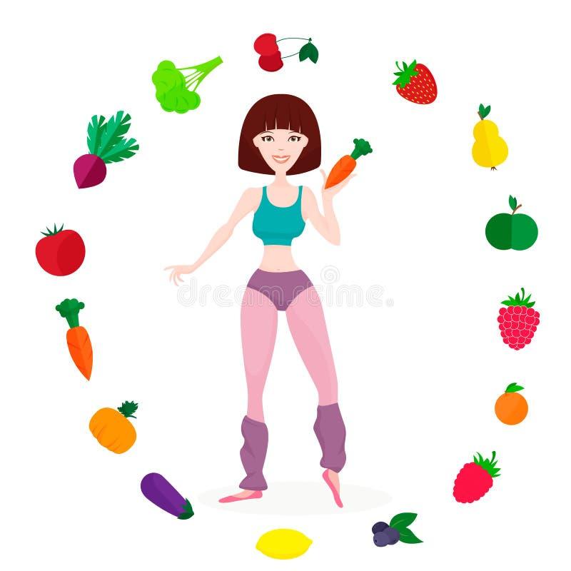 Slank atletisch meisje, verse groenten en vruchten stock illustratie