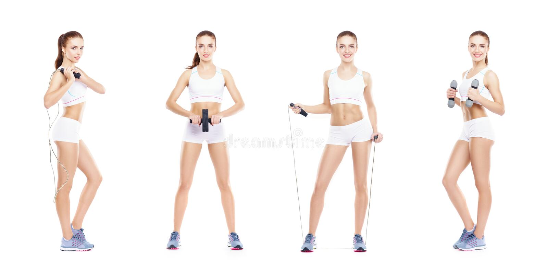 Slank en slank meisje in een sportconcept Sport, fitness, gewichtsverlies, lichaamsverzorging en traininginzameling stock fotografie