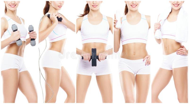 Slank en slank meisje in een sportconcept Sport, fitness, gewichtsverlies, lichaamsverzorging en traininginzameling royalty-vrije stock afbeeldingen