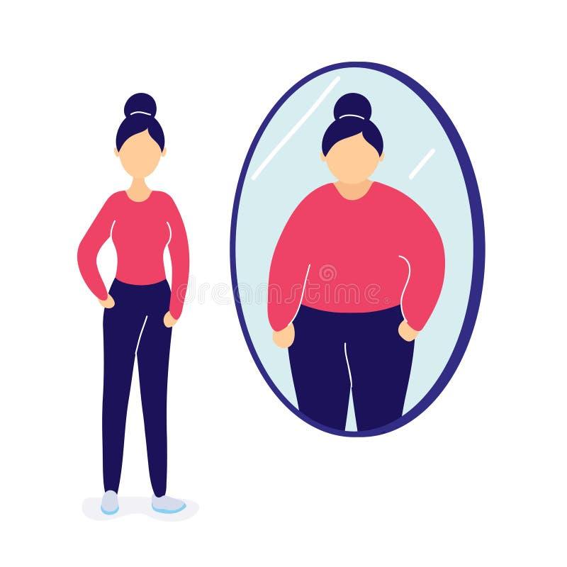 Slank kvinna som ser sig som ?r fet i spegel stock illustrationer