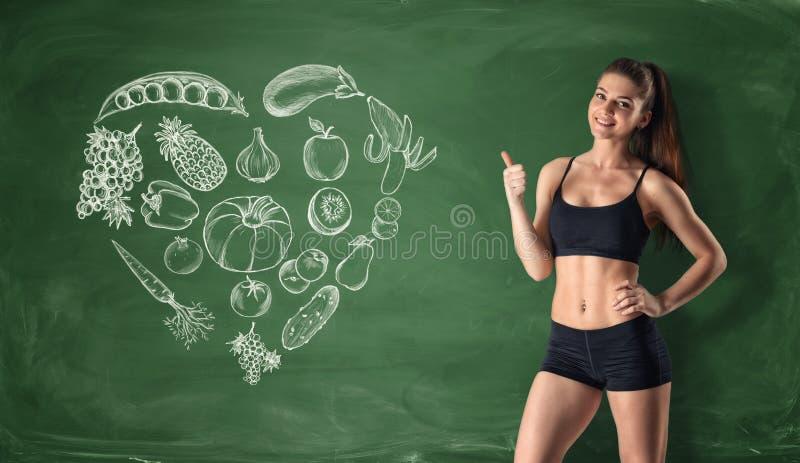 Slank meisje die duim op de achtergrond van geschilderde vruchten en groenten tonen vector illustratie