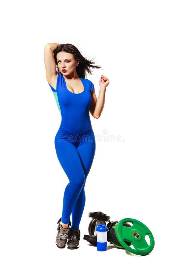 Slank sportig konditionkvinna arkivbild