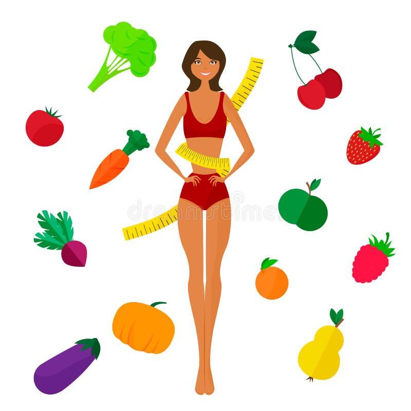 Slank zwart meisje, verse vruchten en groenten royalty-vrije illustratie